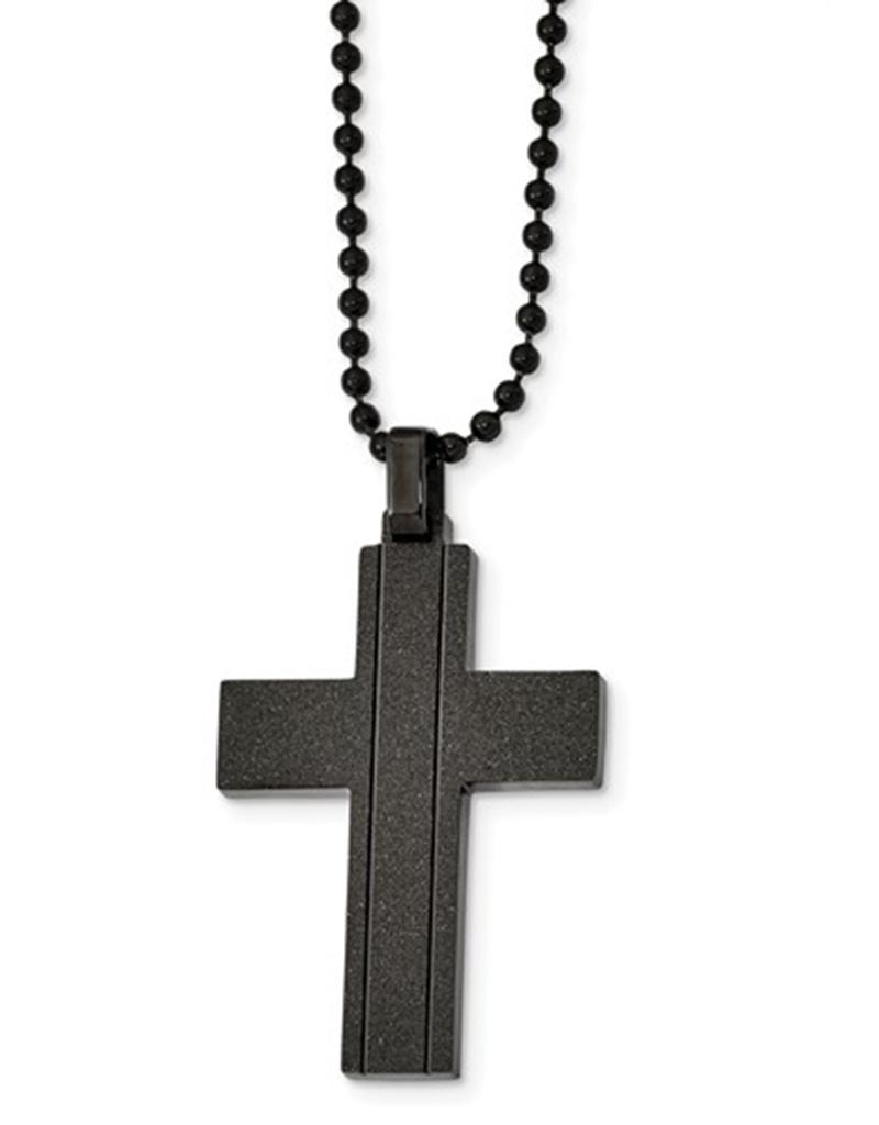 """Black Laser Cut Steel Cross 22"""""""
