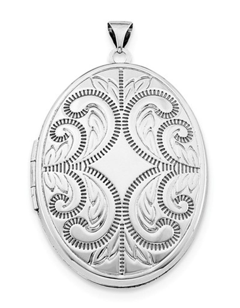Oval Engraved Locket Pendant 36mm