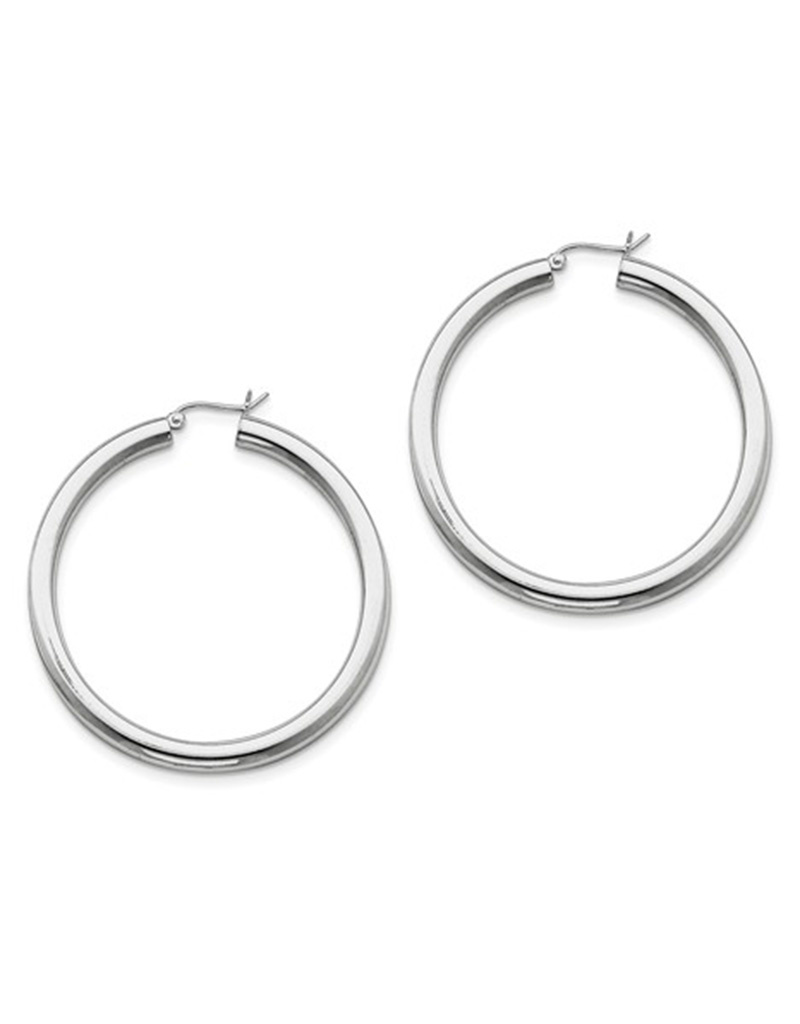 4mm Wide Hoop Earrings 50mm