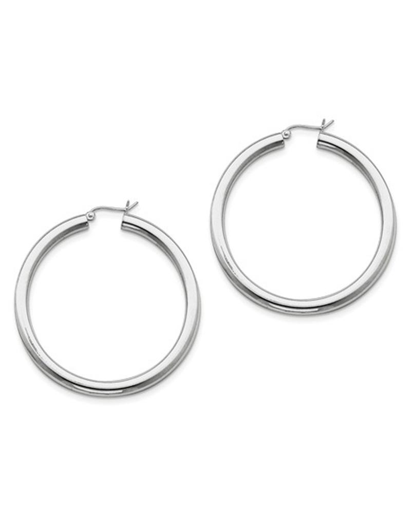 4mm Wide Hoop Earrings 50mm