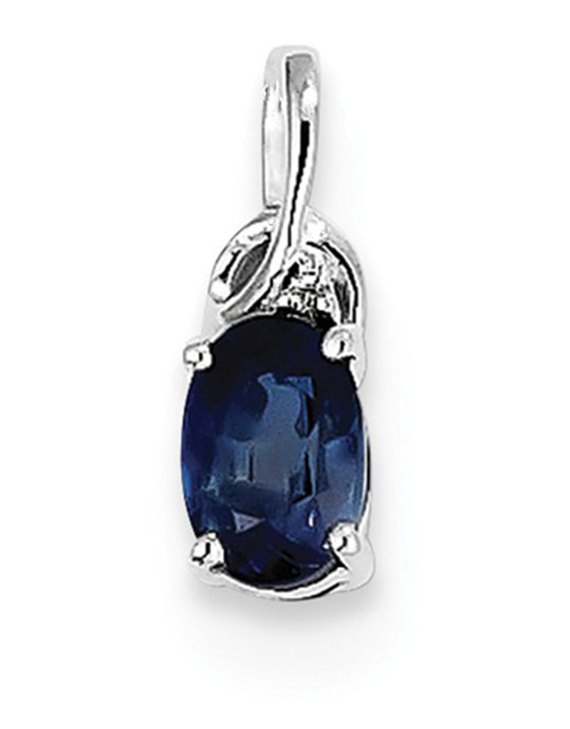 Sterling Silver Sapphire and Diamond Necklace (Includes Chain)