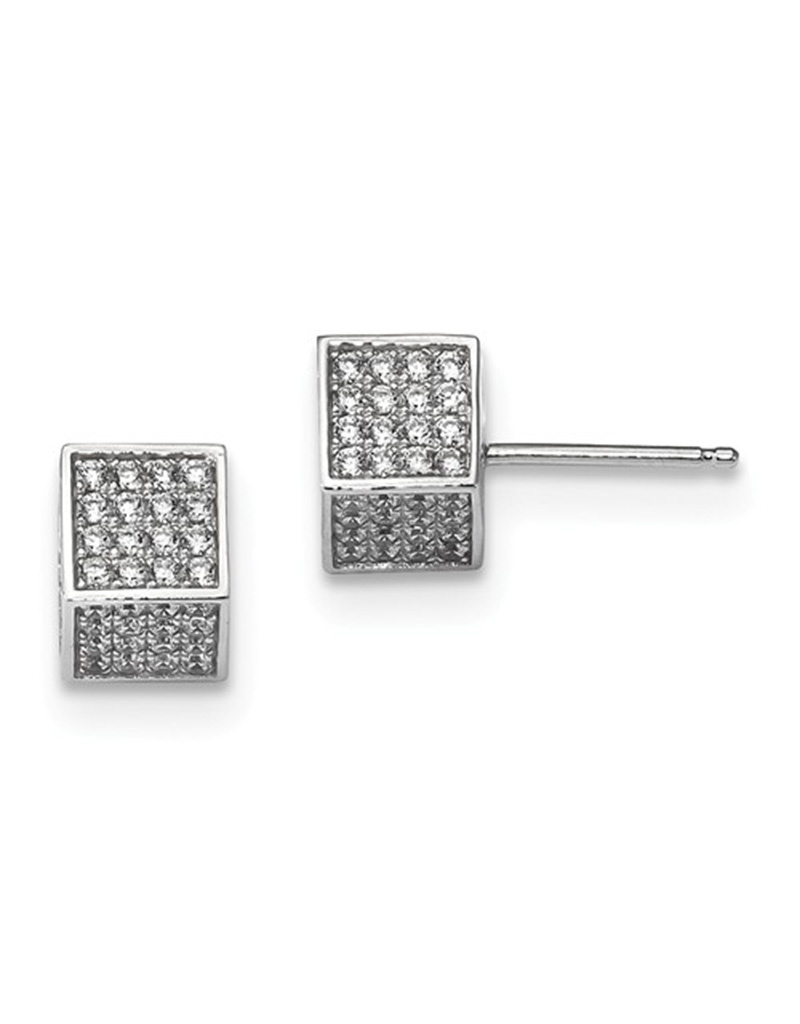 8mm Cube Pave CZ Stud Earrings