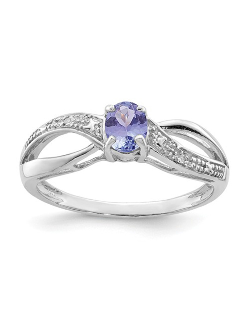 Oval Tanzanite & Diamond Ring 7