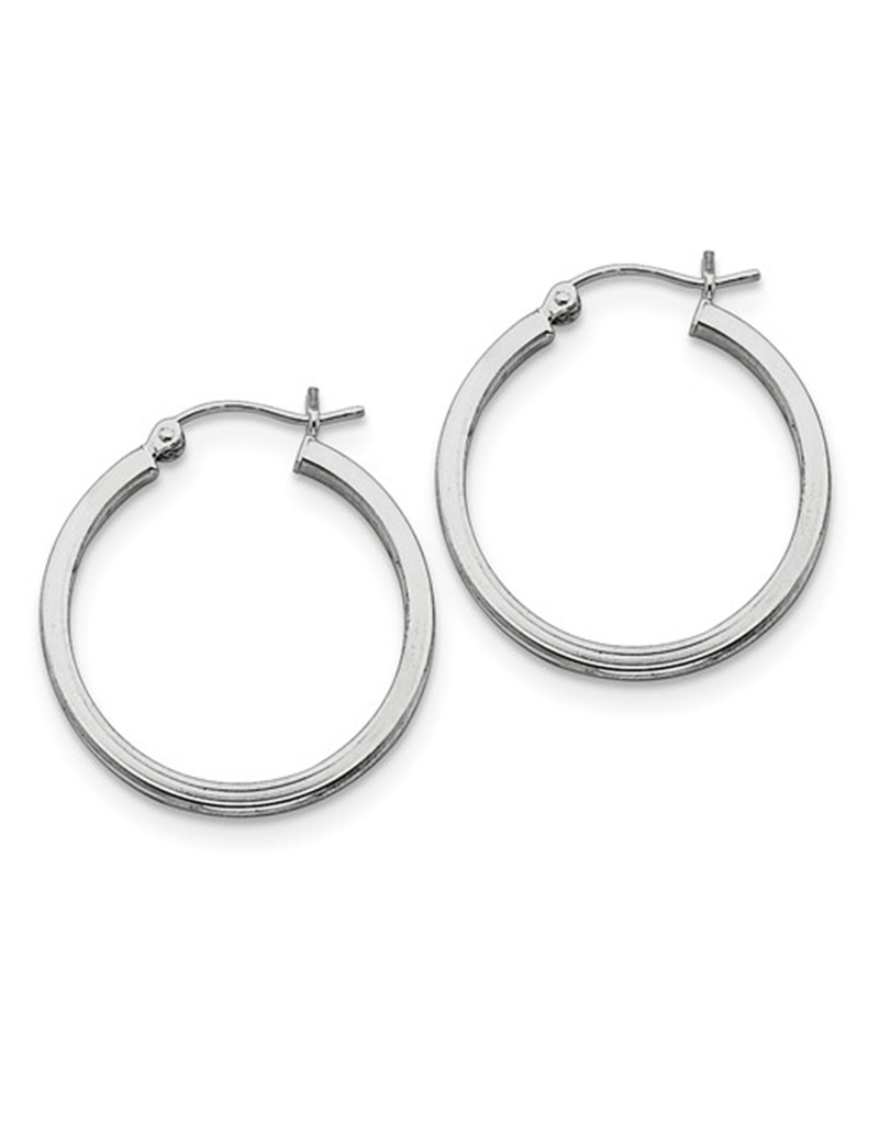 Square Tube Hoop Earrings 25mm