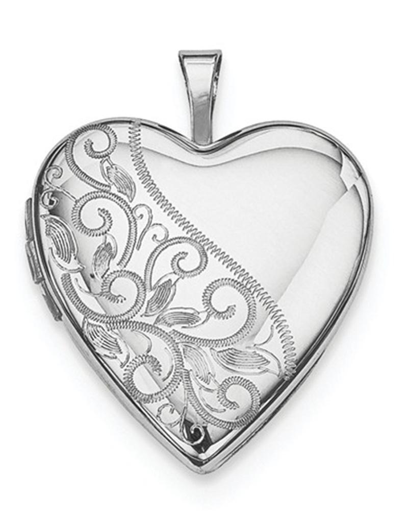 Heart Scroll Locket Pendant 21mm