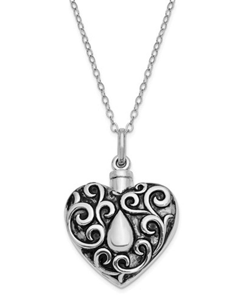"""Sterling Silver Antiqued Heart Ash Holder Necklace 18"""""""