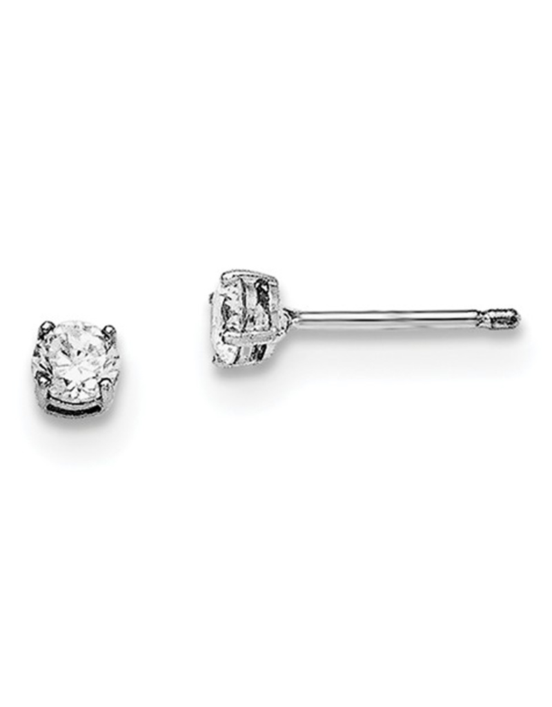 Round CZ Stud Earrings 4mm