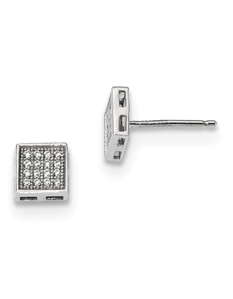 Square Pave CZ Stud Earrings 6mm