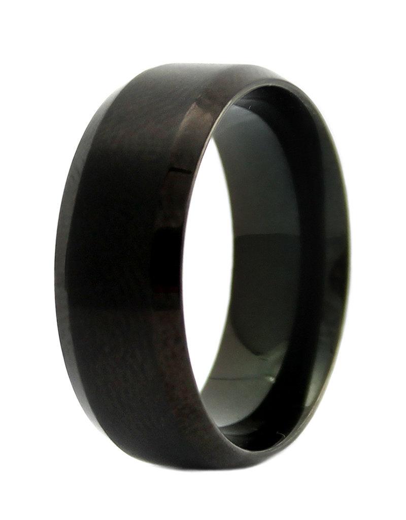 Men's Stainless Steel 8mm Matte Black Band Ring
