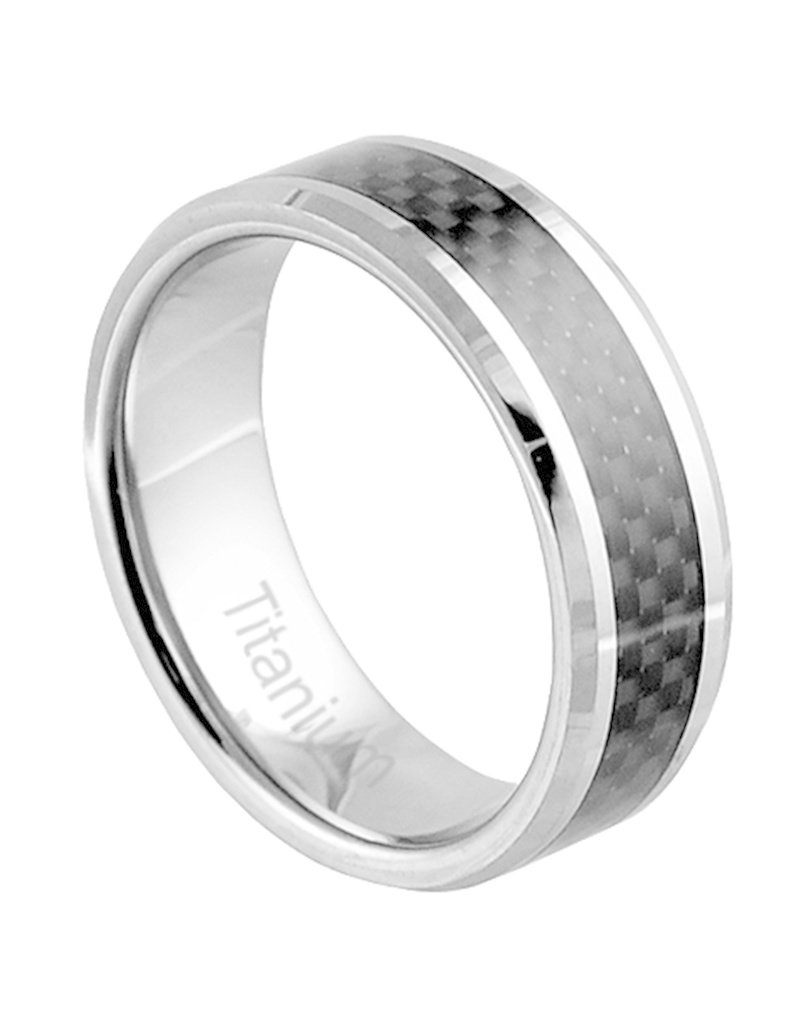 Men's Titanium Carbon Fiber Inlay Band Ring
