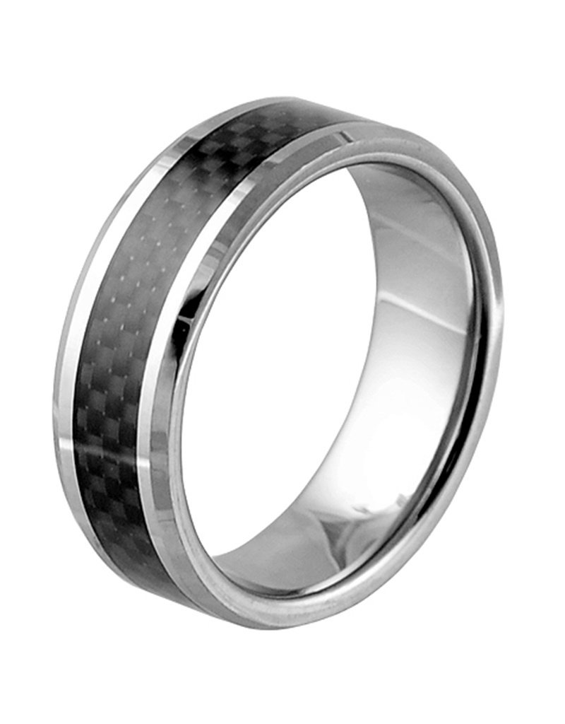 Men's Tungsten Carbon Fiber Inlay Band Ring