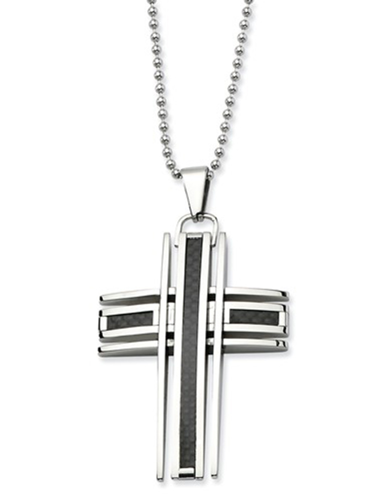 """Steel Cross with Carbon Necklace 24"""""""