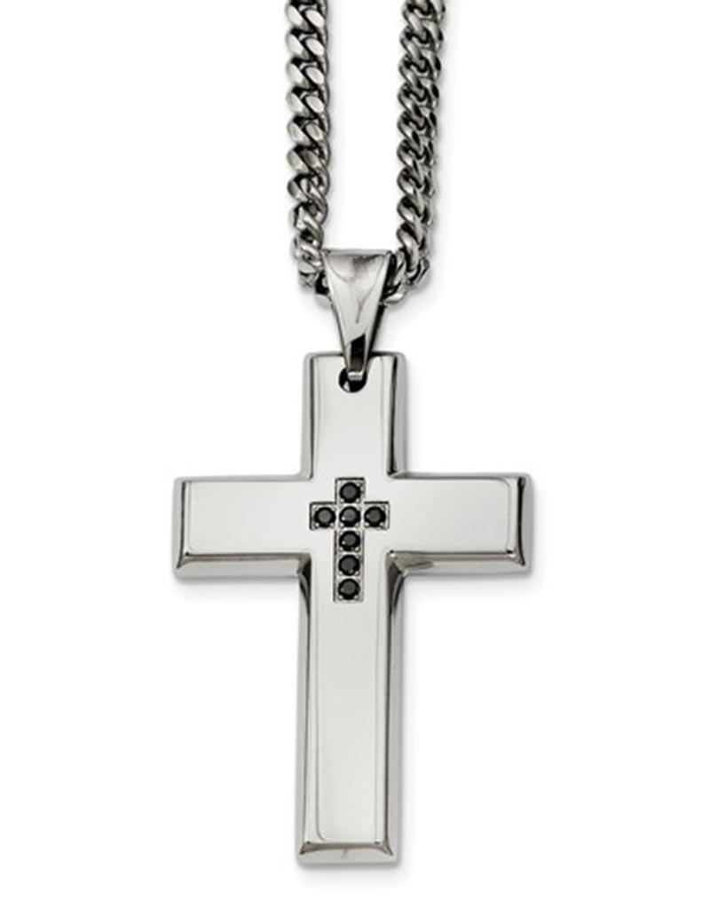 Black Diamond Cross Necklace