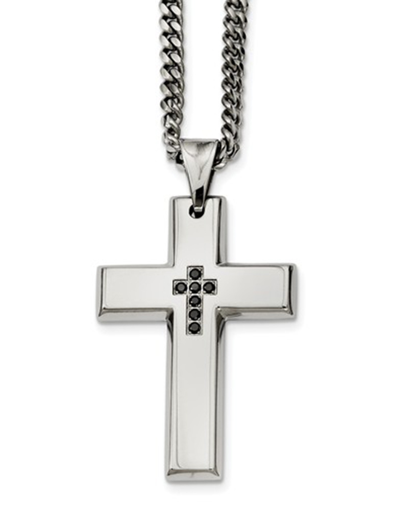 Cross-linked and oxidized Sterling Silver Pendant with black diamond