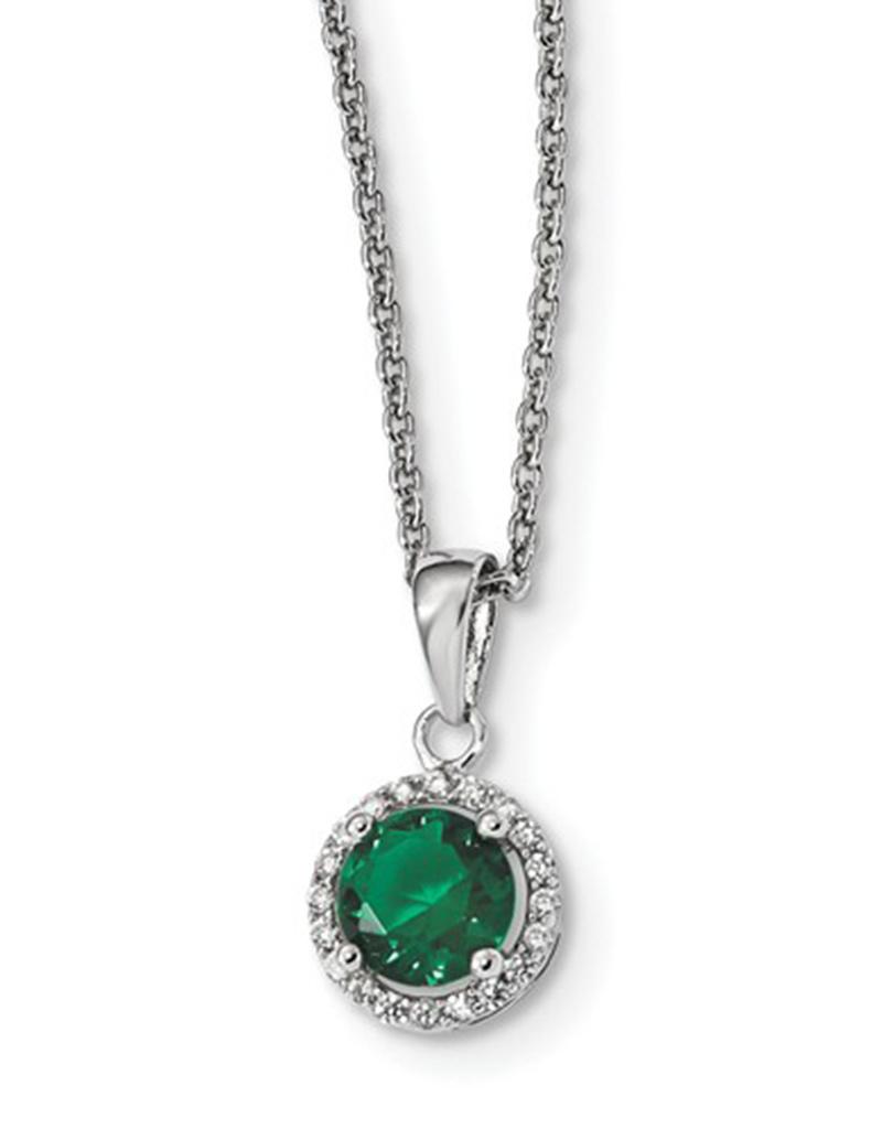 "Round Green CZ Necklace 18"""