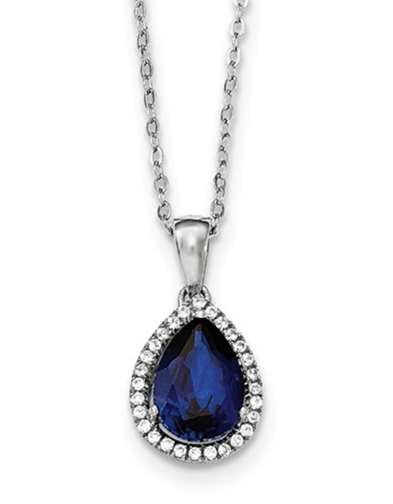 """Teardrop Blue CZ Necklace 18"""""""