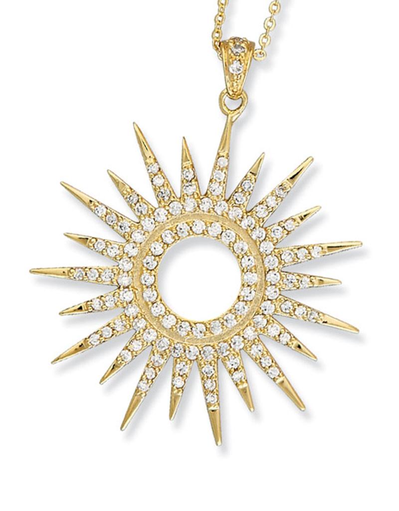 Lg Sun Dial Gold Vermeil CZ Necklace