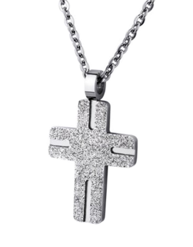 Men's Sand Blasted Stainless Steel Cross Pendant 25mm (Chain sold separately)