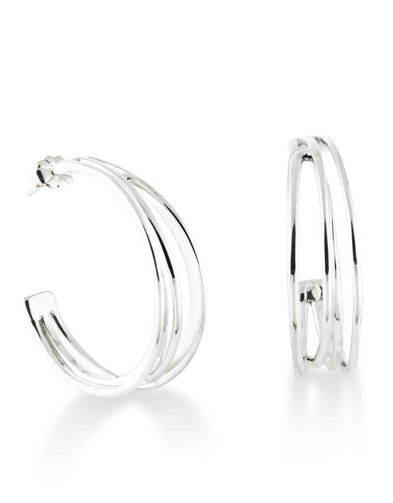 ZINA Zina Sterling Silver Wired 3/4 Hoop Earrings 35mm