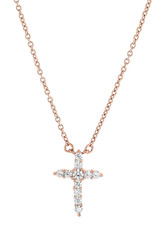 """Sterling Silver CZ Cross Necklace with 14k Rose Gold Vermeil Finish 16""""-18"""""""