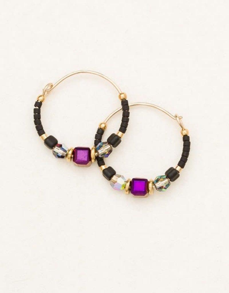 HOLLY YASHI Galaxy Black Sonoma Bead Hoop Earrings *95235