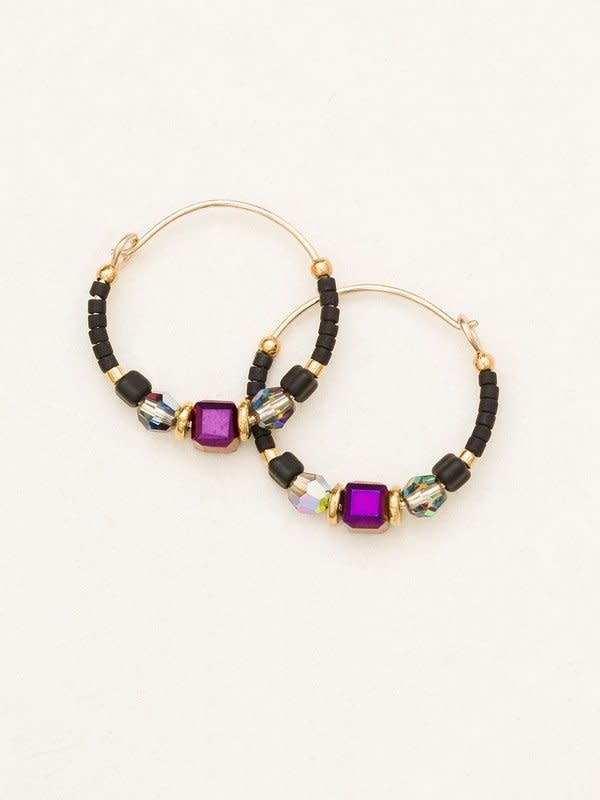 HOLLY YASHI Galaxy Black Sonoma Bead Hoop Earrings *95235