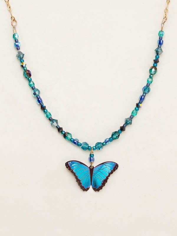 HOLLY YASHI Blue Bindi Butterfly Beaded Necklace *9019