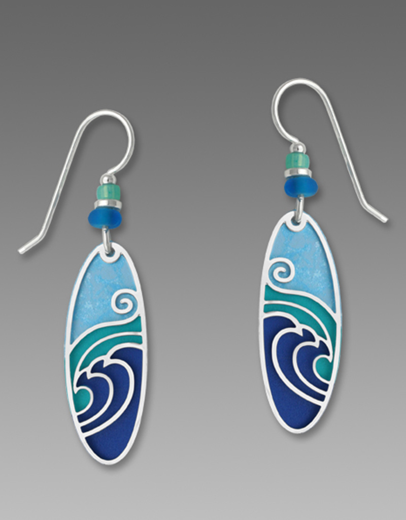 Blue and Aqua Long Oval Earrings