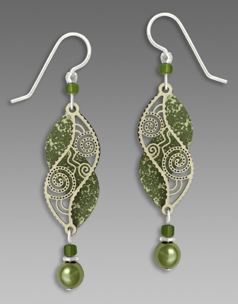 Olive Green Double Helix Earrings