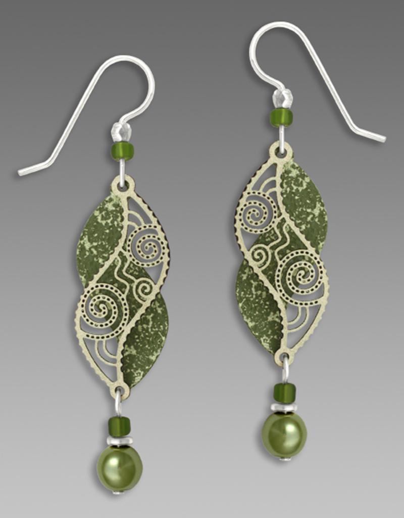 Olive Green Double Helix Earrings