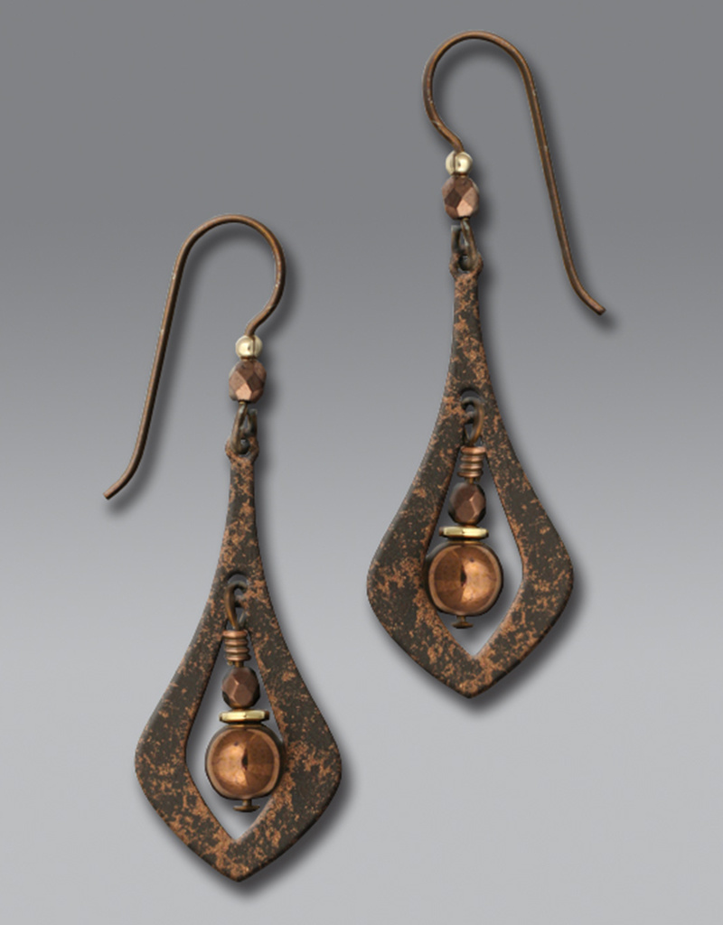 Brown Open Necktie Shape Earrings with Beads
