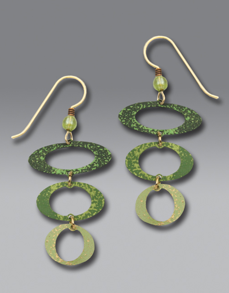 Three-Part Green Open Ovals Earrings