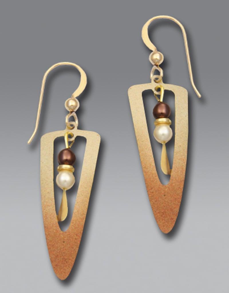Shaded Bronze Open Long Dagger Earrings