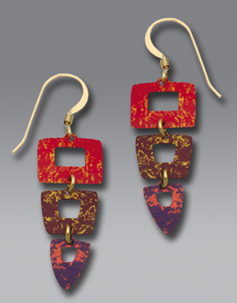 Three-Part Earrings in Rich Reds & Violet