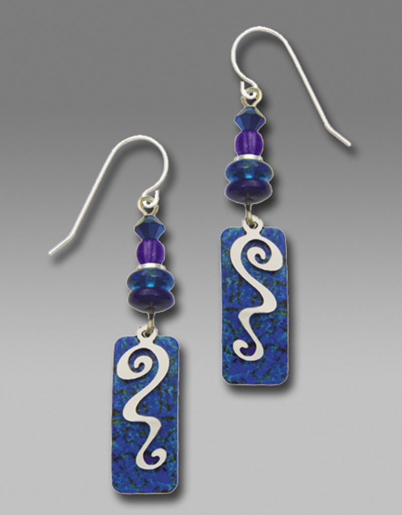 Blue Column Earrings with Silvertone Overlay *7215