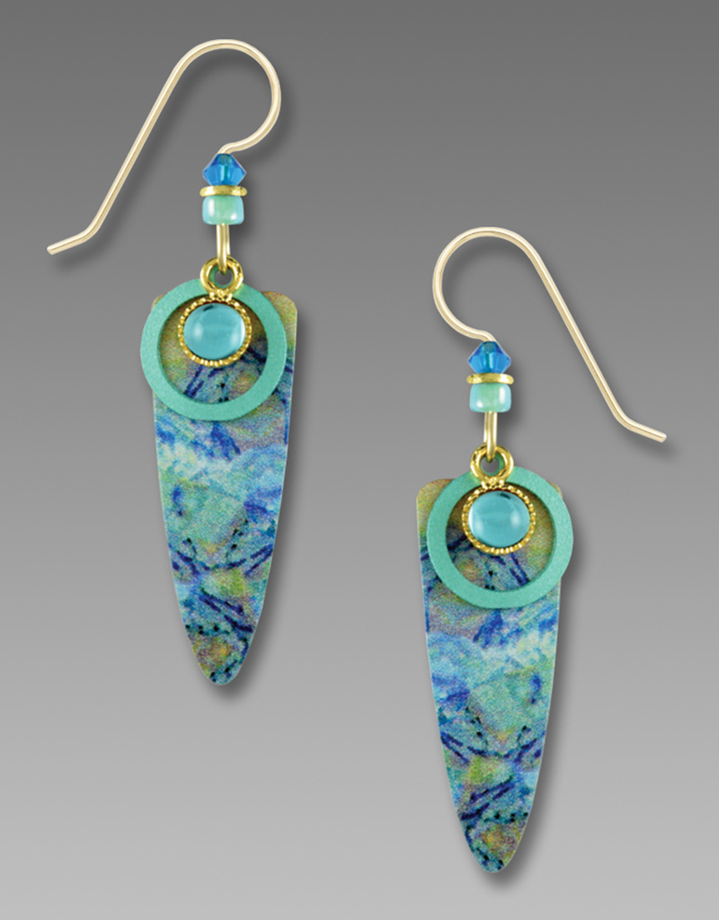 Brass Shield Earrings with Blue Swirl Print