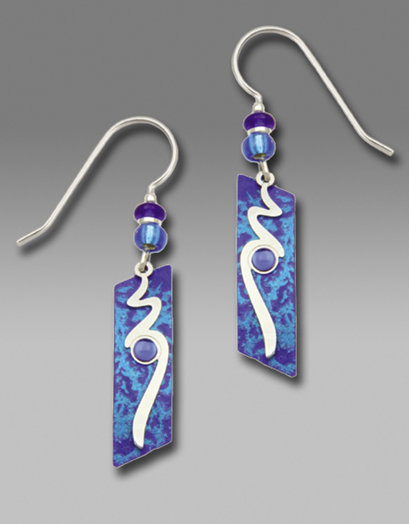 Cobalt Blue Slanted Rectangle Earrings