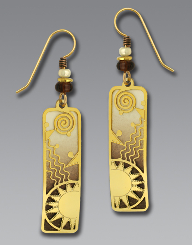 Brown & Ivory Column Earrings w/ Gold Overlay