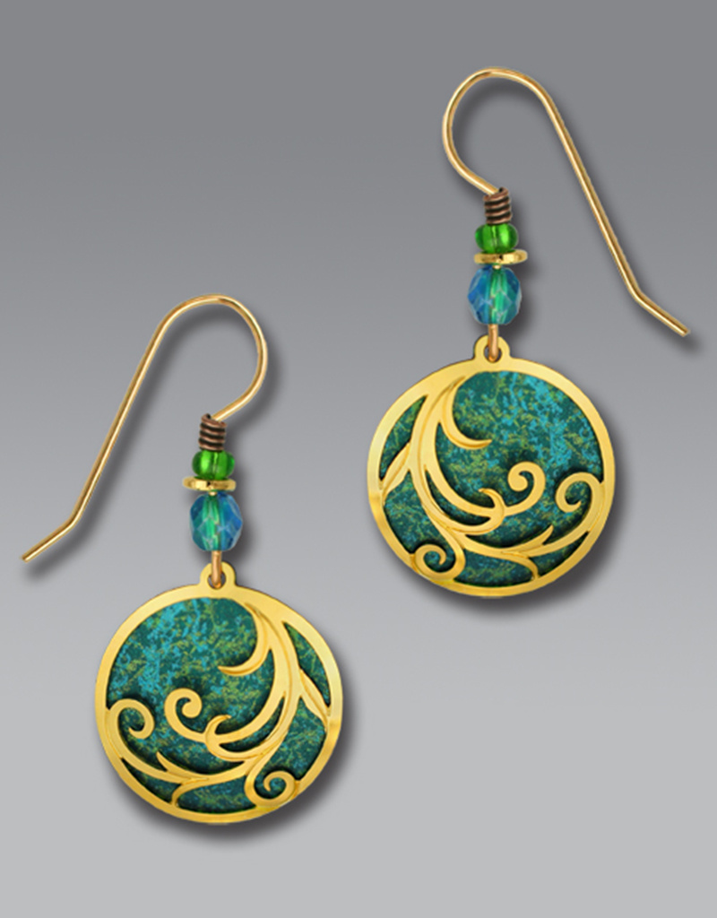 Teal Disk Earrings with Gold Plated Ribbons