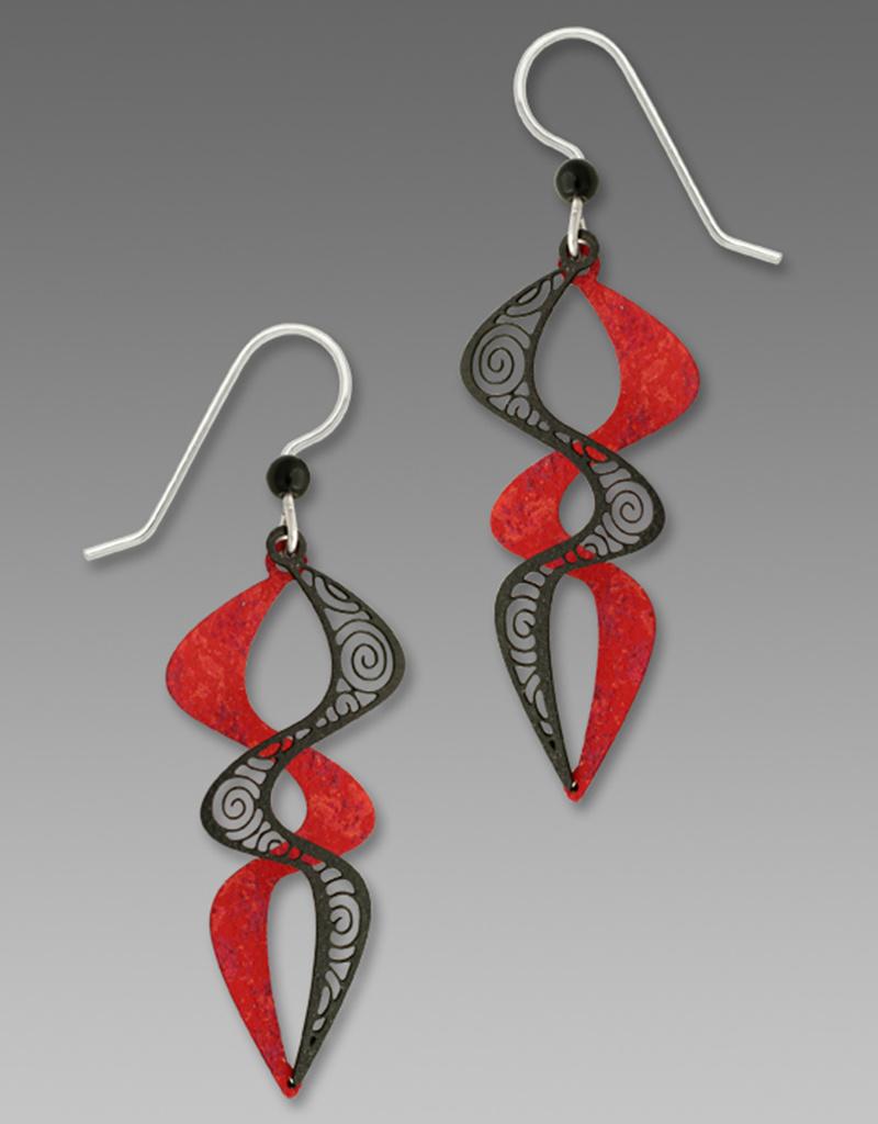 Red & Black Double Helix Earrings
