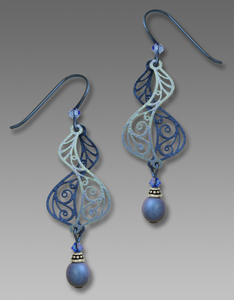 Dusty Sapphire Blue Filigree Helix Earrings
