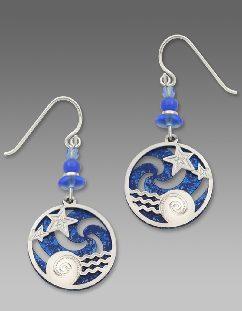 Blue Pinwheel Earrings with Stars