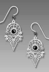 Art Deco Sunburst with Hematitie Cabochon Earrings