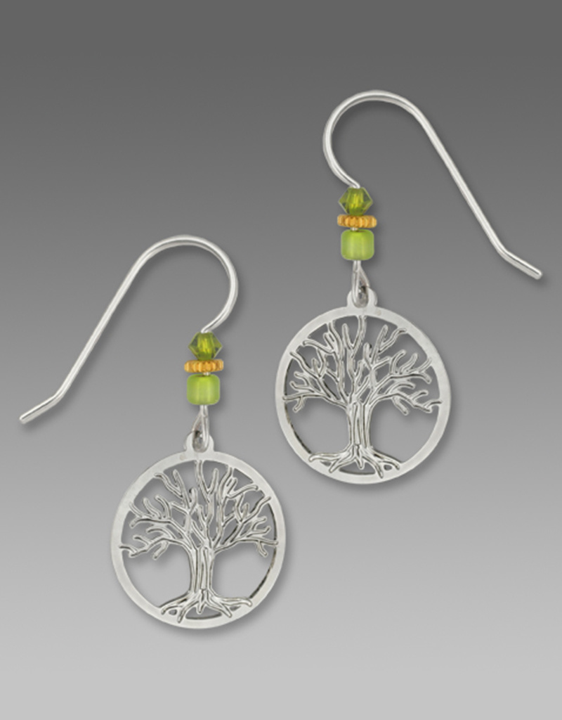 Silver Tree of Life Earrings in a Disk