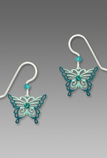 Aqua and Teal Filigree Butterfly Earrings