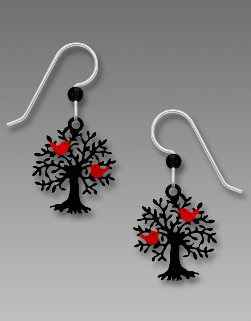 Hand-Painted Black Tree with Birds Earrings