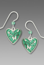 Aqua Green Heart Earrings with Butterflies Overlay
