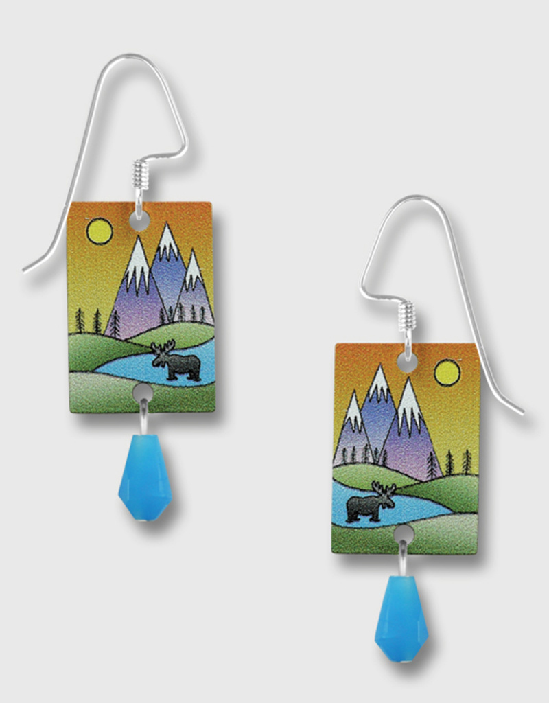 Mountain Scene Moose Earrings