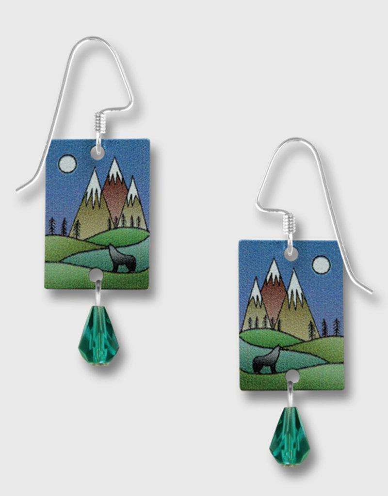 Mountain Scene Wolf Earrings