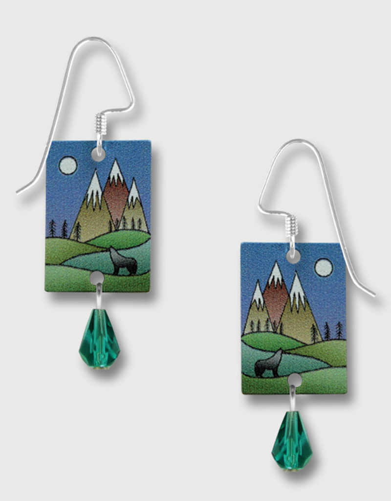 Mountain Scene Wolf Earrings